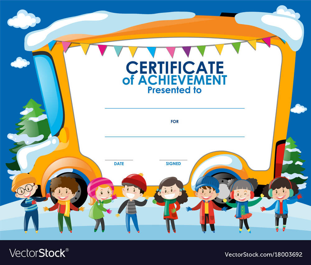 Certificate Template With Children In Winter With Children's Certificate Template