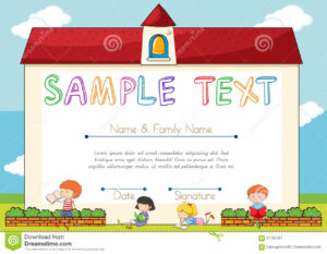 Certificate Template With Children On Background Stock regarding Small Certificate Template