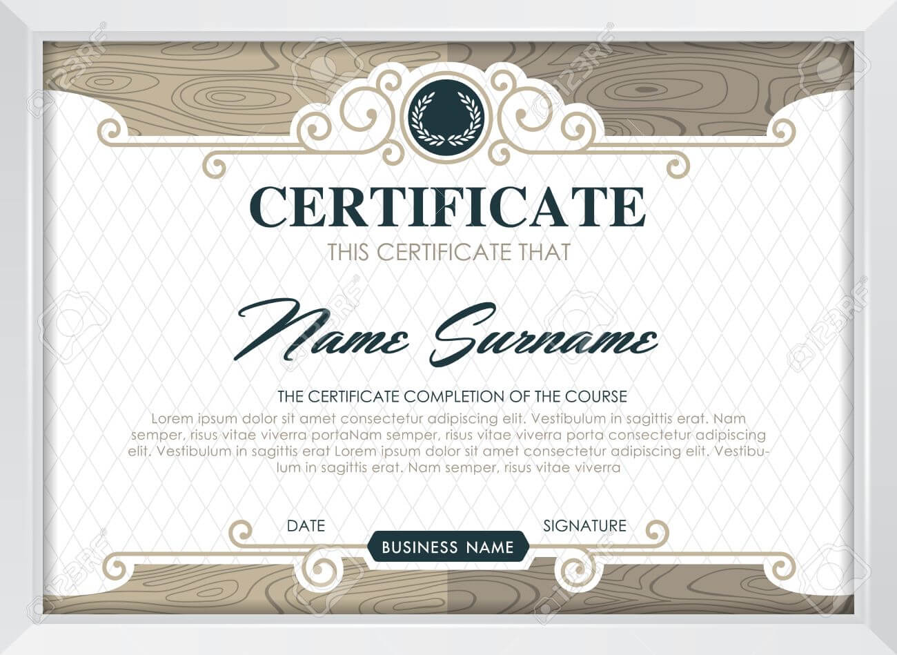 Certificate Template With Clean And Modern Pattern, Luxury  Golden,qualification.. Pertaining To Qualification Certificate Template