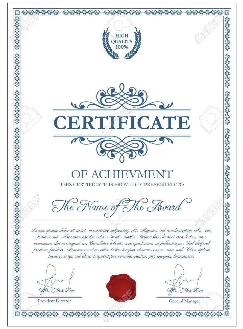Certificate Template With Guilloche Elements. Blue Diploma Border.. With Regard To Validation Certificate Template