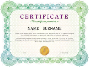 Certificate Template With Guilloche Elements. Green Diploma Border.. pertaining to Validation Certificate Template
