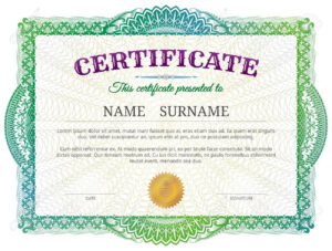 Certificate Template With Guilloche Elements. Green Diploma Border.. regarding Validation Certificate Template