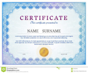 Certificate Template With Guilloche Elements Stock Vector in Validation Certificate Template
