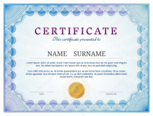 Certificate Template With Guilloche Elements — Stock Vector inside Validation Certificate Template
