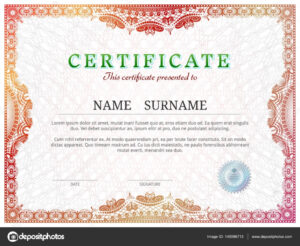 Certificate Template With Guilloche Elements — Stock Vector with regard to Validation Certificate Template