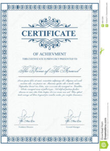 Certificate Template With Guilloche Elements. Stock Vector with Validation Certificate Template