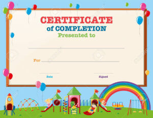 Certificate Template With Kids In Playground Illustration in Free Printable Certificate Templates For Kids