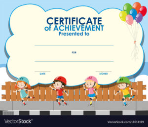 Certificate Template With Kids Skating pertaining to Free Printable Certificate Templates For Kids