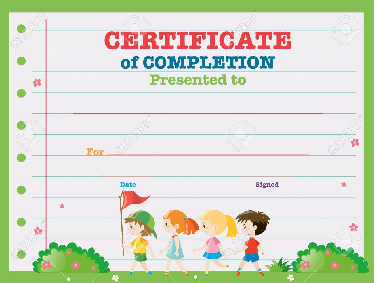 Certificate Template With Kids Walking In The Park Illustration Within Walking Certificate Templates