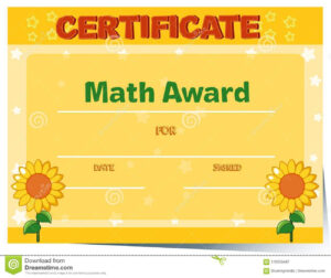 Certificate Template With Sunflowers In Background Stock within Math Certificate Template