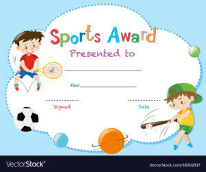 Certificate Template With Two Boys Playing Sports Inside Athletic Certificate Template