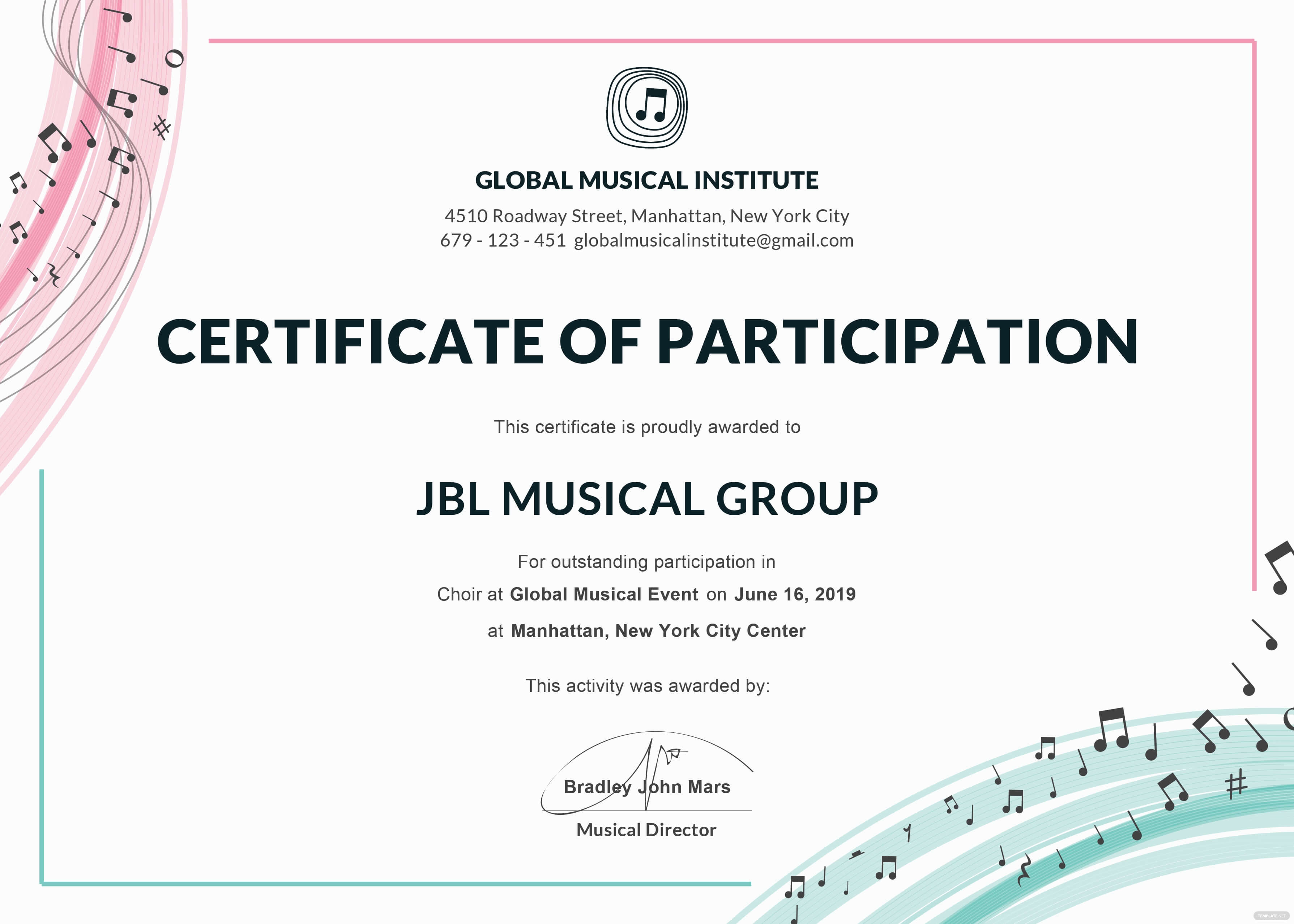 Certificate Templates: Certificate Of Participation, Format In Templates For Certificates Of Participation