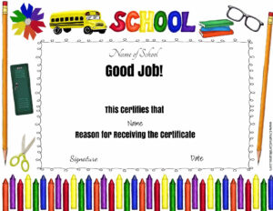 Certificate Templates For School 3 – Elsik Blue Cetane intended for Good Job Certificate Template