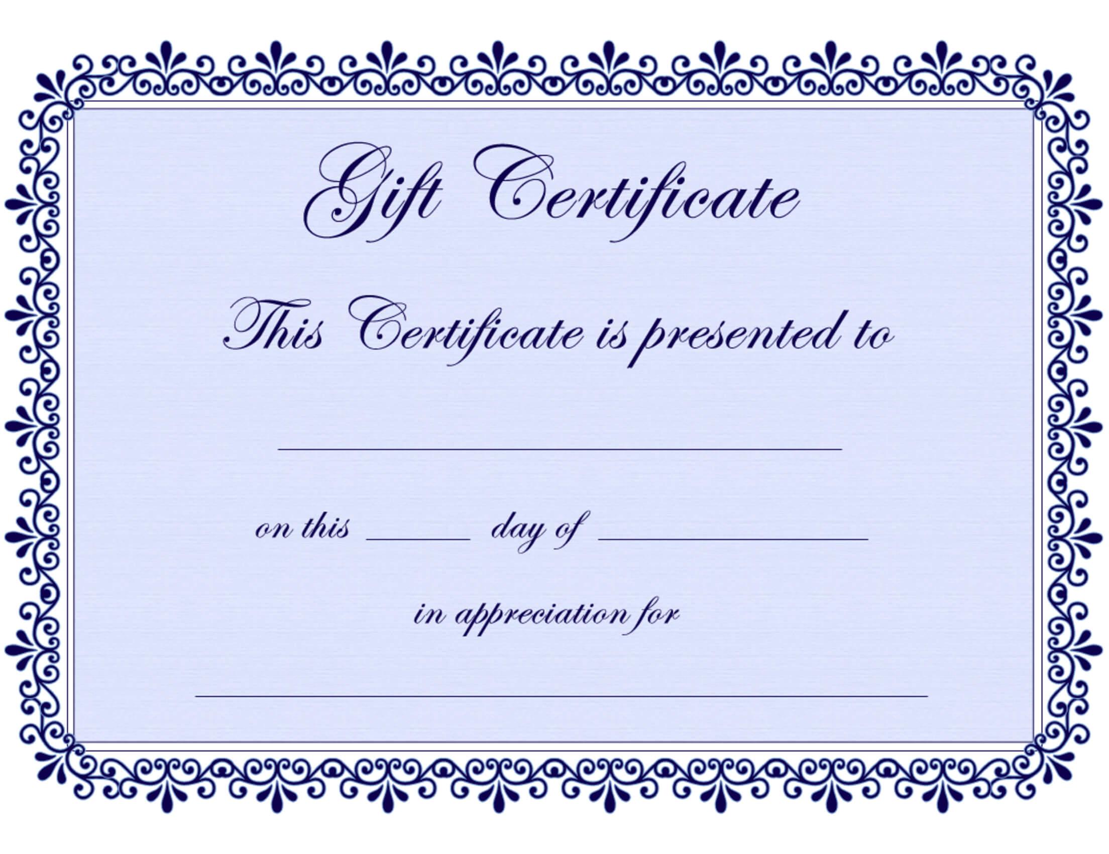 Certificate Templates   Gift Certificate Template Free – Pdf Within Generic Certificate Template