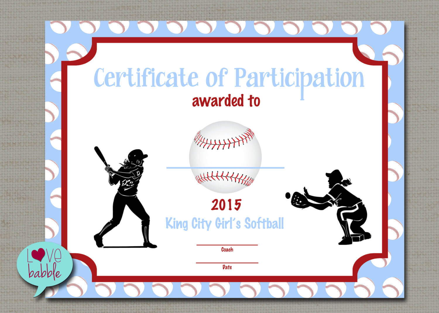 Certificate Templates: Girls Softball Baseball T Ball Award In Softball Award Certificate Template