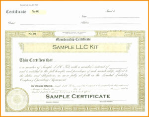 Certificate Templates: Llc Membership Certificate Templates Free intended for Llc Membership Certificate Template