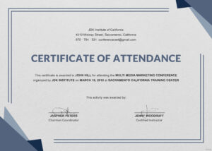 Certificate Templates: Ms Word Perfect Attendance regarding Attendance Certificate Template Word