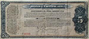 Certificate Templates: Vintage Johnstown: 1893 Bond Certificate throughout Corporate Bond Certificate Template
