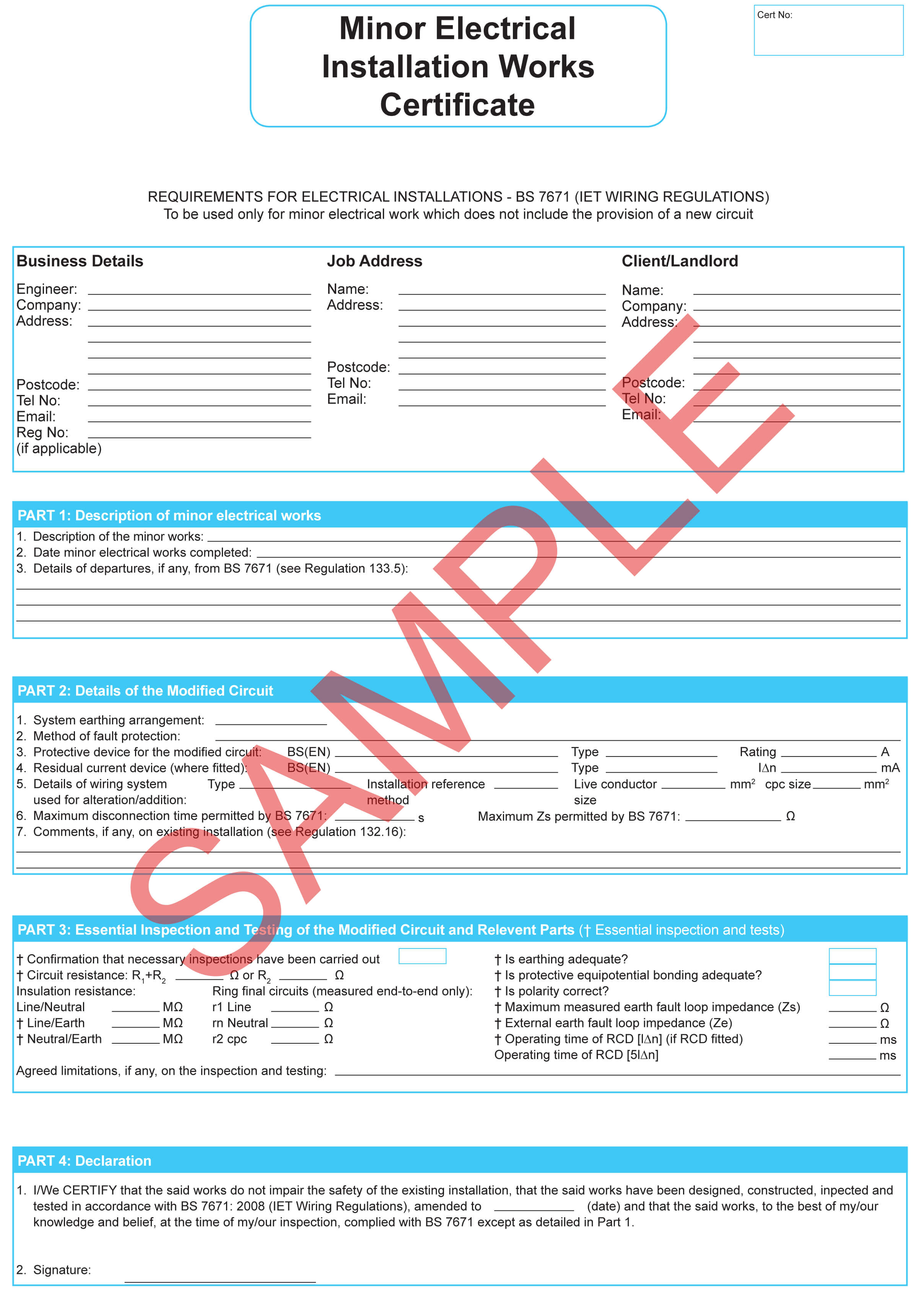 Certificates | Everycert Within Electrical Installation Test Certificate Template