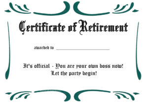 Certificates: Simple Sample Retirement Certificate Template For Retirement Certificate Template