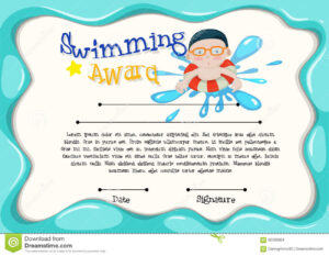 Certification Template Of Best Swimmer Stock Vector regarding Free Swimming Certificate Templates