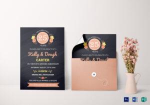 Chalkboard Anniversary Invitation Card Template for Anniversary Card Template Word