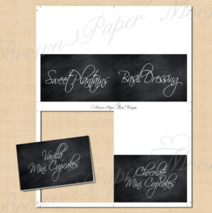 Chalkboard Food Tent, Wedding Buffet, Dessert, Candy Table: Text-Editable,  Printable On Avery® 5820, Paper Source Tents, Instant Download inside Paper Source Templates Place Cards