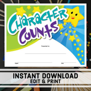 Character Counts Certificate | Instant Download | Printable Award |  Editable Certificate Templates | School Certificates | Student Award throughout Update Certificates That Use Certificate Templates
