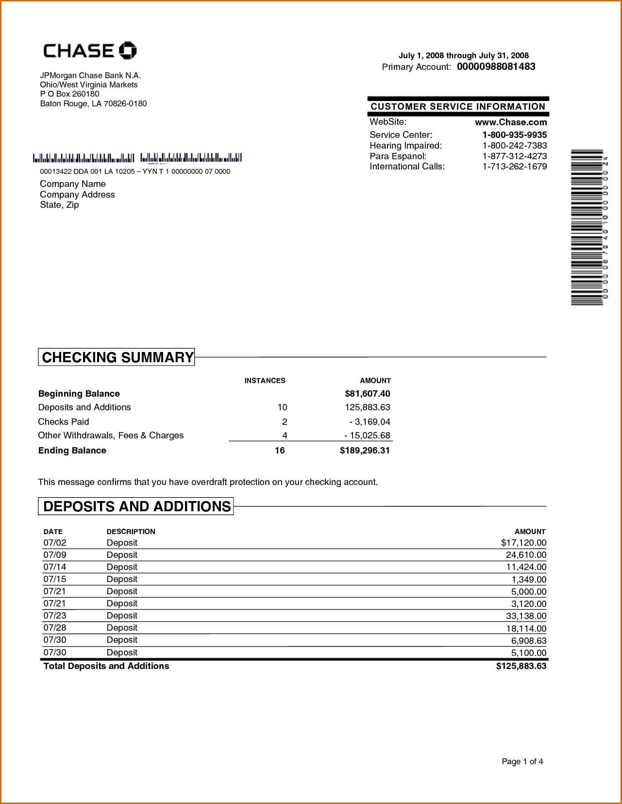 Chase Bank Statement Online Template | Best Template With Blank Bank Statement Template Download