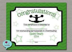 "Cheerleading Cheer Award Certificate, Dance Gymnastics Award – Printable  Digital File 8.5"" X 11"" for Gymnastics Certificate Template"