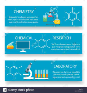 Chemistry Lab Banners. Vector Science Experiment Backgrounds for Science Fair Banner Template