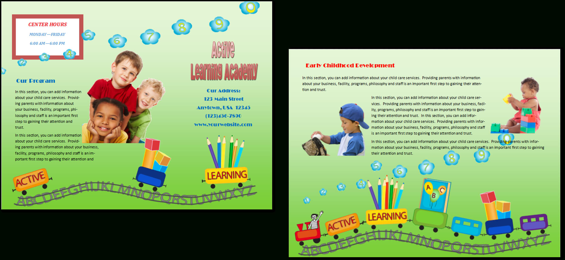 Child Care Brochure Template 16 With Regard To Daycare Brochure Template