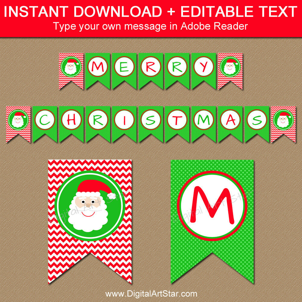 Christmas Banner – Diy Printable Holiday Banner – Santa Banner – Christmas  Decorations – Instant Download Merry Christmas Banner Bunting C4 Throughout Merry Christmas Banner Template