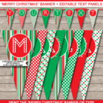 Christmas Banner Template – Red & Green Throughout Merry Christmas Banner Template