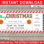 Christmas Basketball Gift Ticket – Red Stripes & White With Regard To Basketball Camp Certificate Template