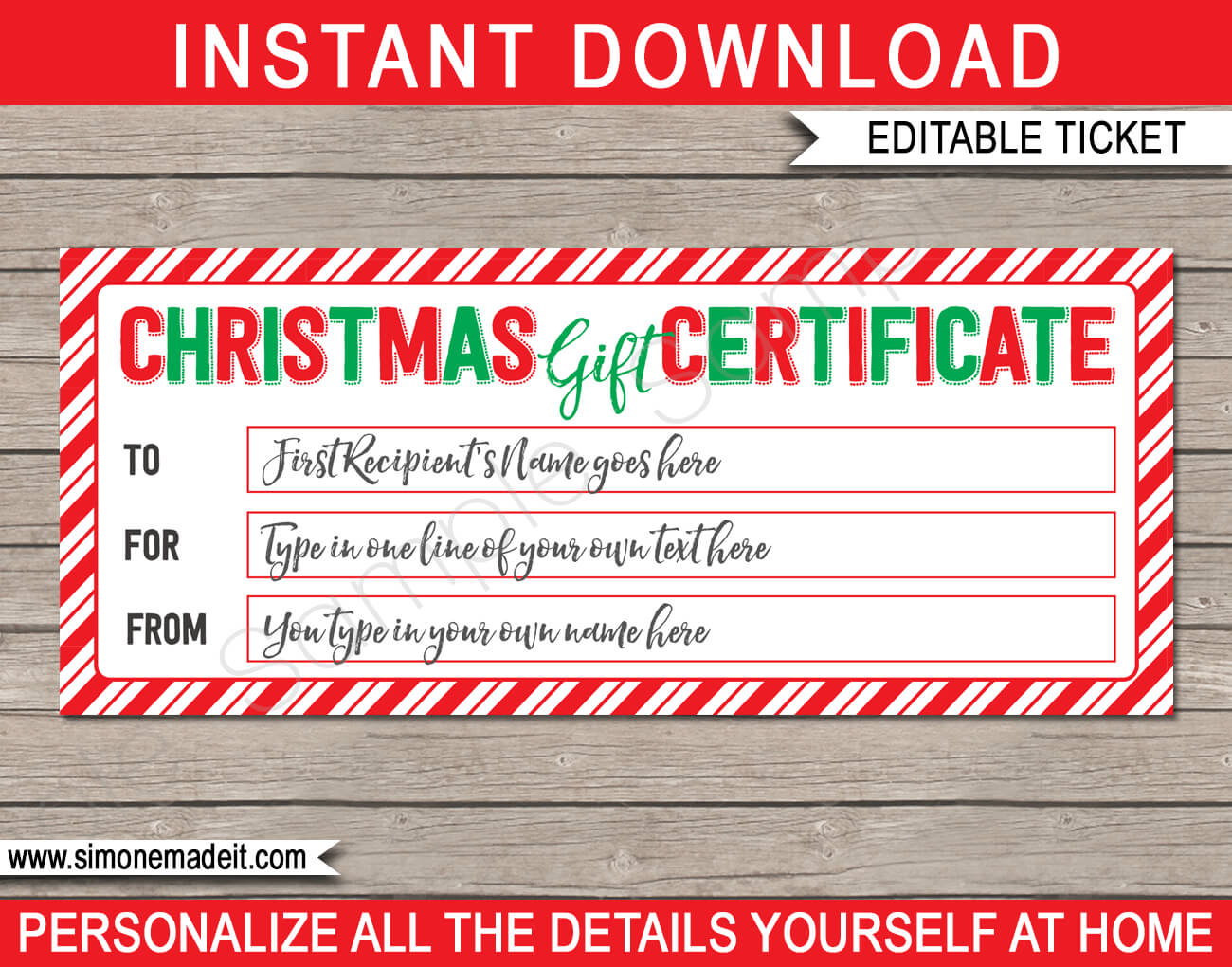 Christmas Gift Certificate Template – Red, Green & White Inside Christmas Gift Certificate Template Free Download