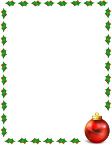 Christmas Holly Border Page Public Domain Clip Art Image with Christmas Border Word Template