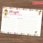 Christmas Recipe Card – Cookie Exchange Holiday Party – Xmas Baking – Baked  Goods Swap – Recipe Share – Snowflakes – Elf – Instant – 4X6 In Cookie Exchange Recipe Card Template