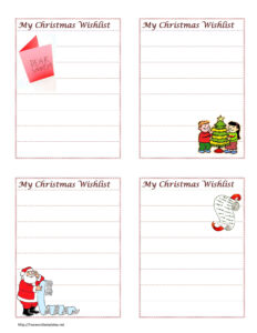 Christmas Wish List Throughout Christmas Card List Template