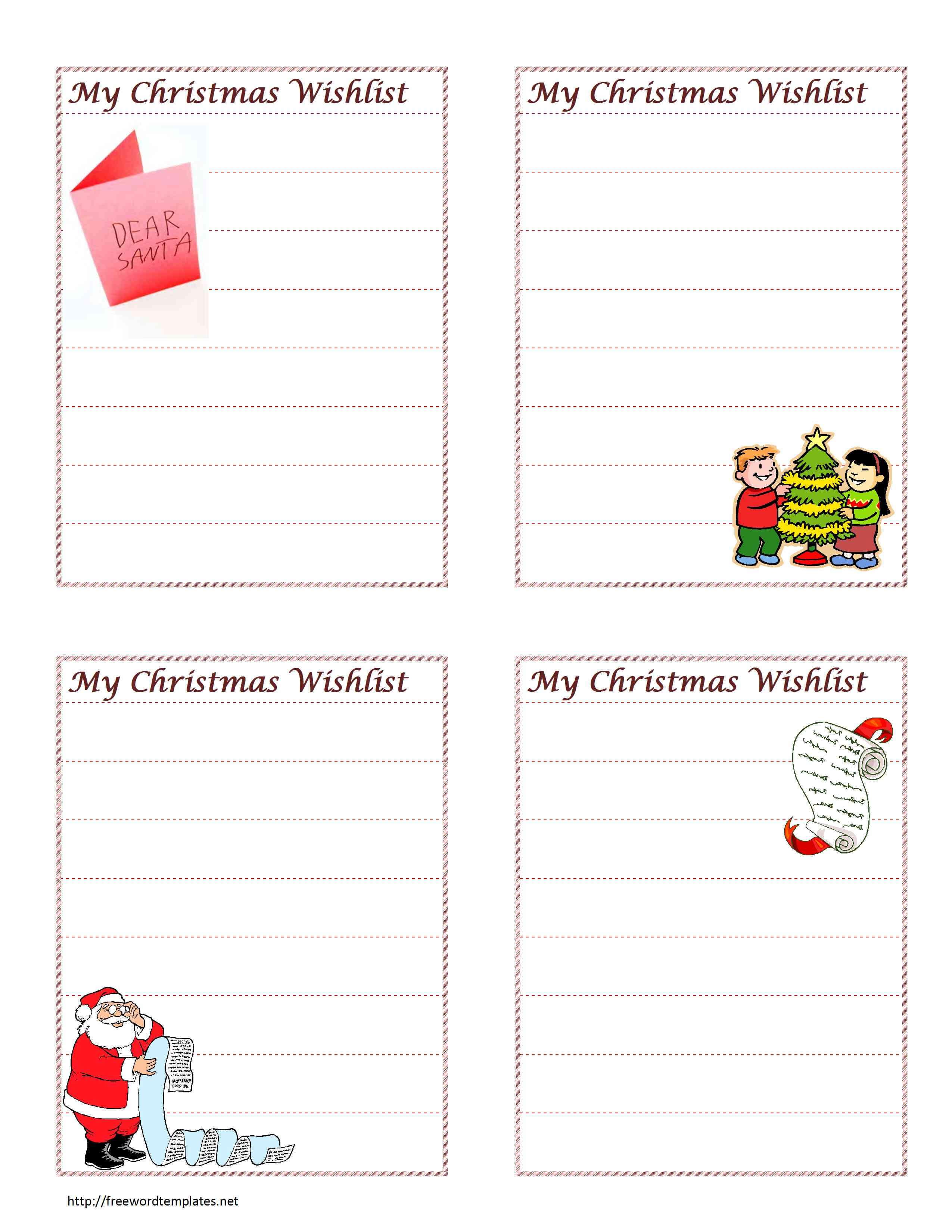 Christmas Wish List Throughout Christmas Card List Template