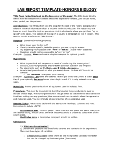 Chs Hbio Lab Report Template | Biology | Lab Report Template in Template On How To Write A Report