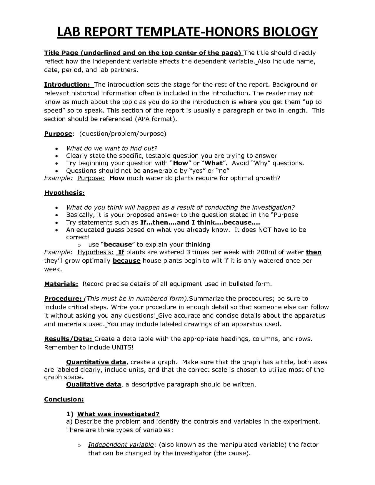 Chs Hbio Lab Report Template | Biology | Lab Report Template With Regard To Biology Lab Report Template