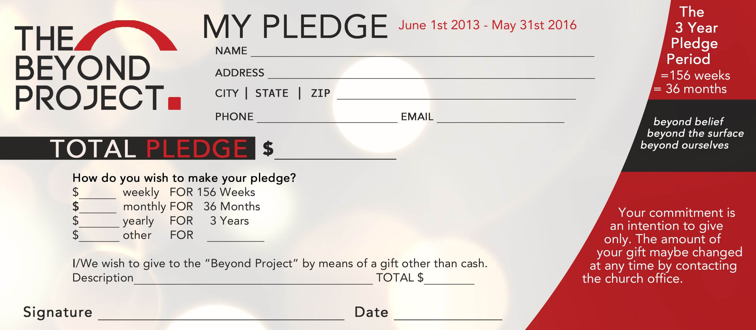Church Pledge Form Template Hausn3Uc | Capital Campaign Within Building Fund Pledge Card Template