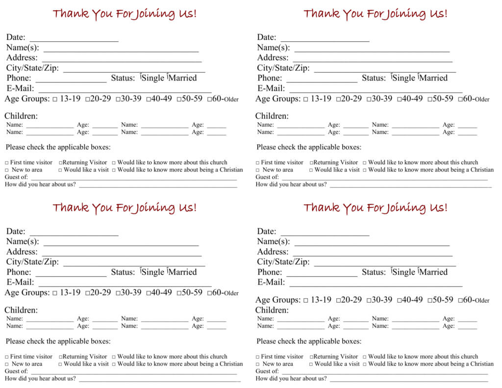 Church Visitor Card Template With Church Visitor Card Template