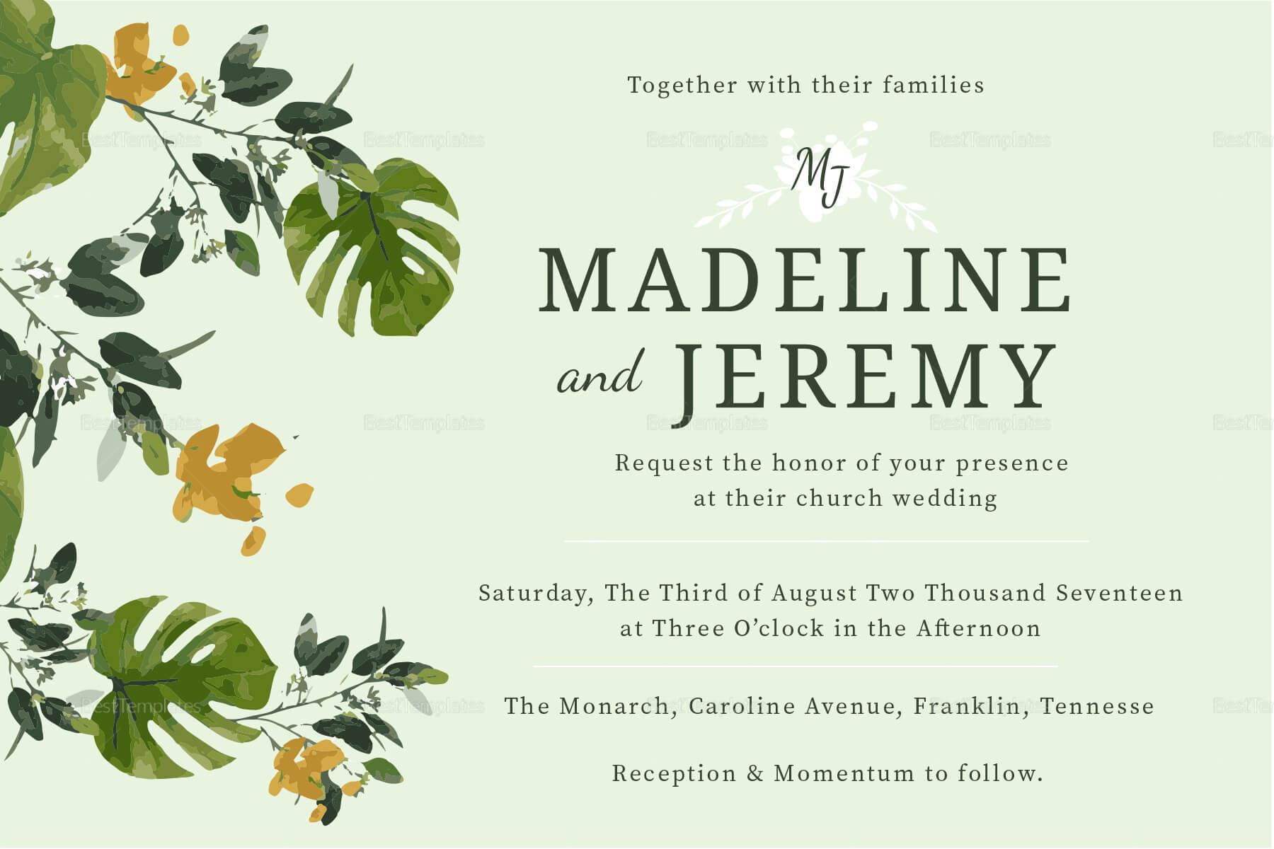 Church Wedding Invitation In Landscape And Portrait In Church Wedding Invitation Card Template