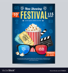 Cinema Movie Festival Poster Card Template with regard to Film Festival Brochure Template
