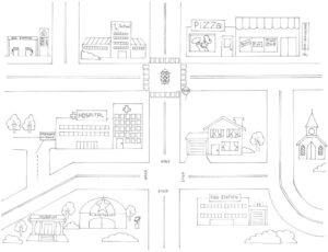 City Map Coloring Page | E-Dbd regarding Blank City Map Template