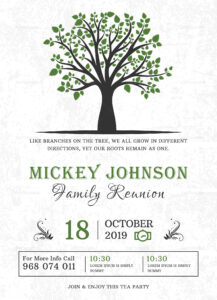 Classic Family Reunion Invitation Template within Reunion Invitation Card Templates
