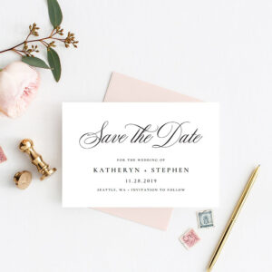 Classic Save The Date Card Templates, Wedding Save The Dates, Printable  Wedding Save The Date Templates, Calligraphy Script Save The Date in Save The Date Cards Templates