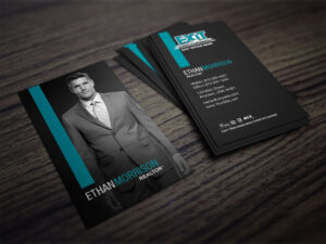 Clean, Dark Exit Realty Business Card Design For Realtors intended for Coldwell Banker Business Card Template